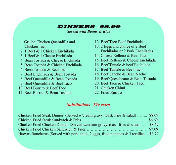 Greendoor Food Menu